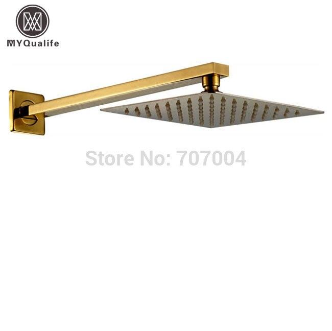 Luxury Golden Brass 8 Rainfall Ultrathin Shower Head + Wall Mount Copper Shower Arm 38cm free shipping wall mount shower arm 8 inch ultrathin shower head chrome finish