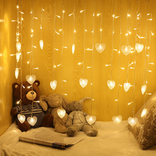 1.5*0.5M/2*1M /4*0.5M /6*1M 220V LED String fairy Lights heart garland Curtain light Christmas for wedding/home/party decoration