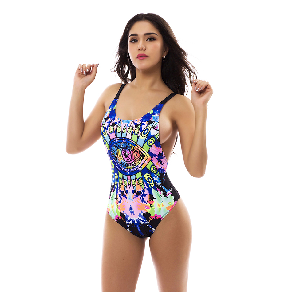 e83180840d Blue Eye Print Vintage Women One Piece Swimsuit Sexy Colorful Totems  Pattern Bodysuit Female Backless New Monokini