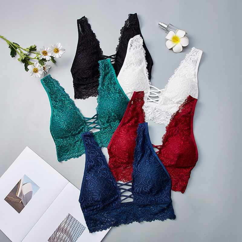 Sexy Lace Bralette Camisoles Tank Top Women Deep V Back Cross Wirefree Underwear Lingerie Brassiere