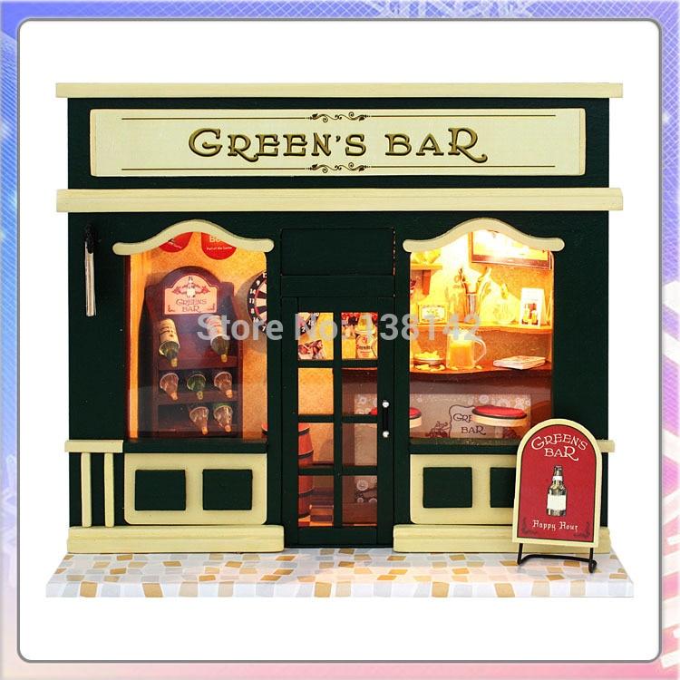 13508 green bar diy dollhouse cafe europe voice led light doll house storechina aliexpresscom buy 112 diy miniature doll house