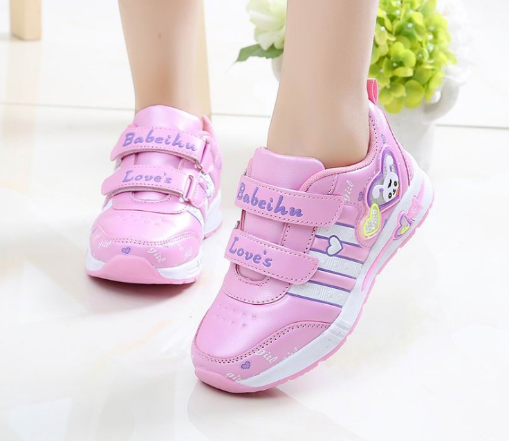 Children's Sports Shoes Female Spring And Autumn New 2020 Girls Mesh Running Shoes Student Travel Shoes Leather Baby Shoes