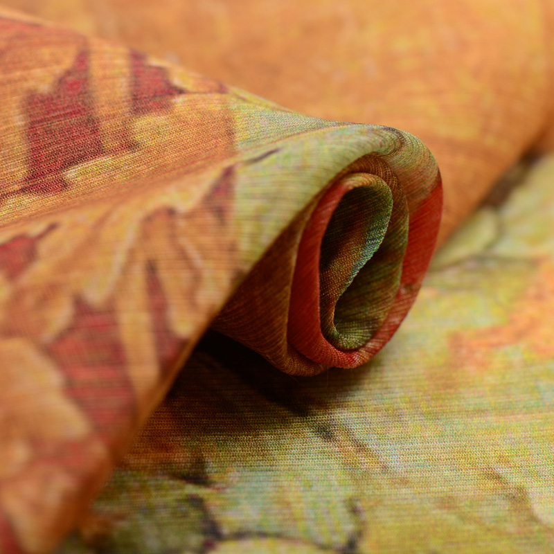 Retro flower - domain silk flax / silk hemp digital printing silk fabric silk cloth Vintage Linen Fabric