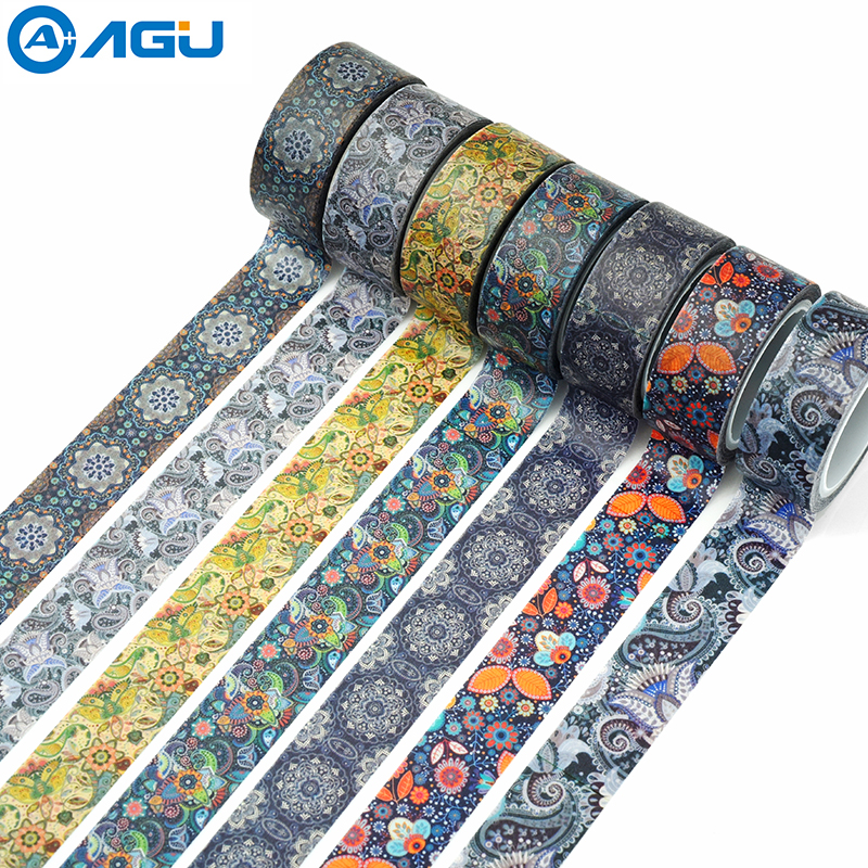 AAGU 1PC 15MM*5M New Designs Flower Adhesive Washi Tape For Painting Adhesive DIY Masking Tape Single Side Decorative Paper Tape сигнализатор поклевки hoxwell new direction k9 r9 5 1