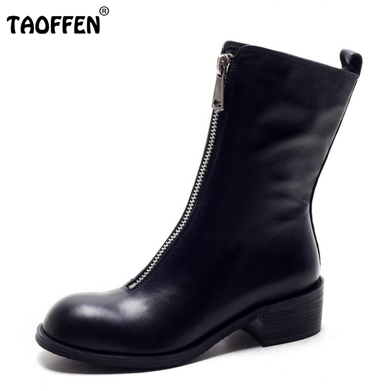 TAOFFEN Winter Women Boots Genuine Real Leather Round Toe Zipper Half Boots Female Sqaure Heel Botas Mujer Women Shoe Size 34-39 platform square heel half short real leather boots women fashion round toe zipper shoes lace up female bootie size 34 39