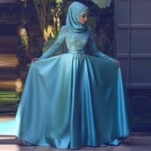 Heißer Verkauf Dubai Abendkleider Lange Blue Abendkleid Lang Sleeve Reich vestido de festa Oansatz Satin-nach Maß Freies verschiffen