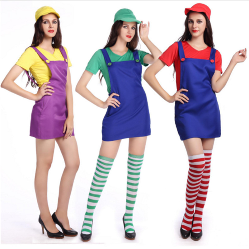 2018 New plus size Adults Women Super Costume High quality Sexy Mario cosplay Dress Xmas Mario Bros costumes Halloween for Women