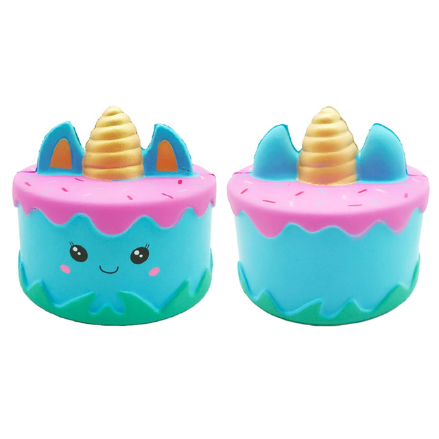 Jumbo mignon licorne gâteau spongieux lent croissant soulagement du Stress en polyuréthane doux serrer jouet lisse pain crème parfumée amusant pour enfant cadeau 15*9CM