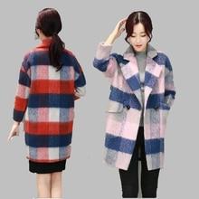 2016 Winter New Large size Woolen coat Female Medium long Korean Fashion Plaid Woolen jacket Casual Thick Warm Cotton jacketAB90