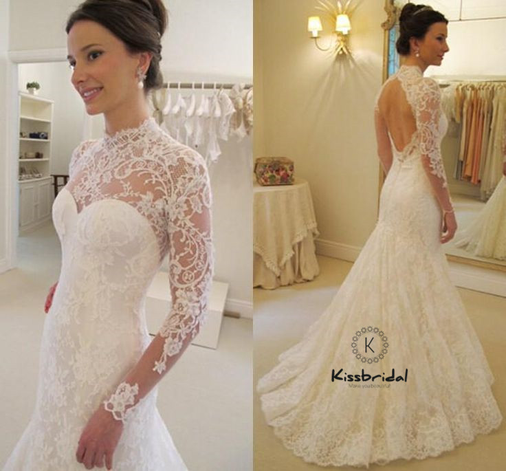 Simple Elegant Open Back Long Sleeve Wedding Dress: Simple Vintage Lace Wedding Dresses Long Sleeve Open Back