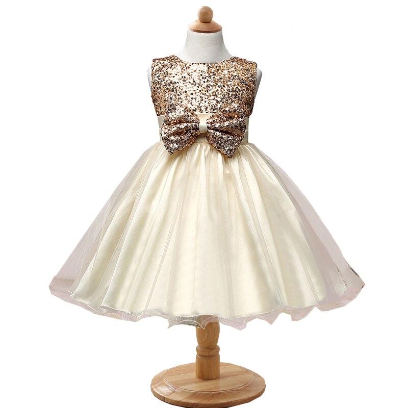 купить Kids Sequins Big Bow Formal High Waist Dress Girls Elegant Wedding Prom Design Dresses Toddlers Birthday Party Princess Gown недорого