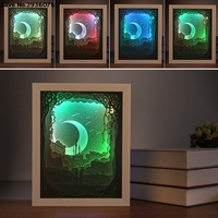 Papercut Moon Light Box LED USB Night Lights Lamps Creative Paintings Moon Lovers