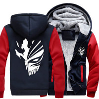 New Winter Jackets And Coats Death Hoodie Ainme Hiphop Luminous Hooded Thick Zipper Men Sweatshirts