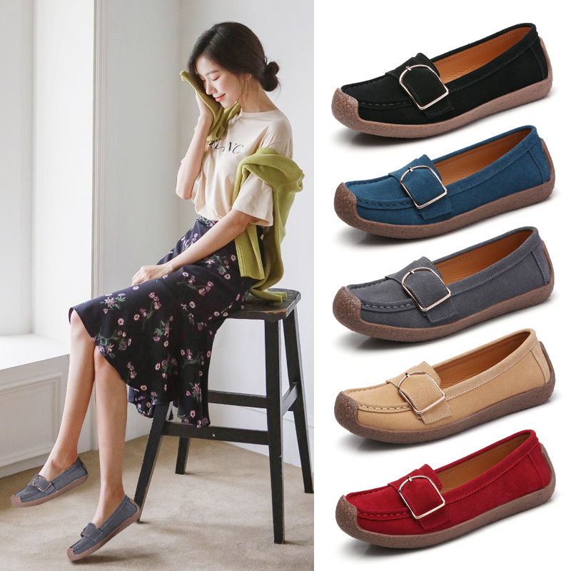 Women Loafer shoes Multi color with Large size suede peas shoes snail shoes Waverly Suede Penny Loafers Slip on construction in Women 39 s Flats from Shoes