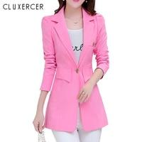 2018 Women Fashion Spring Blazer Pink Plus size Casual Korean Style jacket elegant Slim office lady overalls Long Blazers