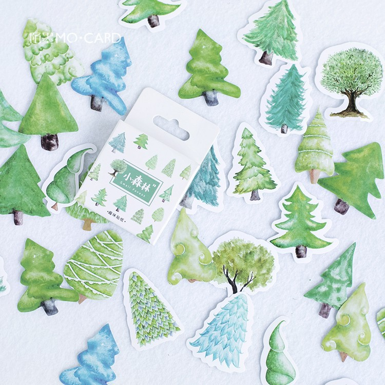 45pcs/Set Novelty Little Forest Trees Paper Sticker Decoration DIY Handmade Arts Craft Sticker Christmas gift