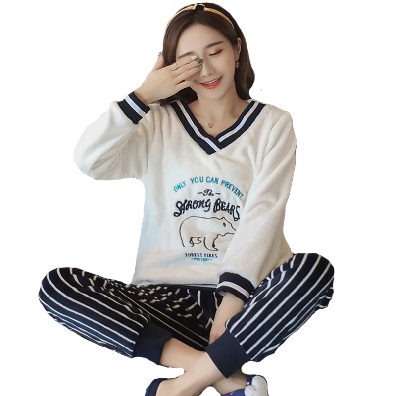 Plus size S-4XL 5XL sleep wear pyjama femme feminino night wear pajama sleepwear women cartoon coral fleece lounge set