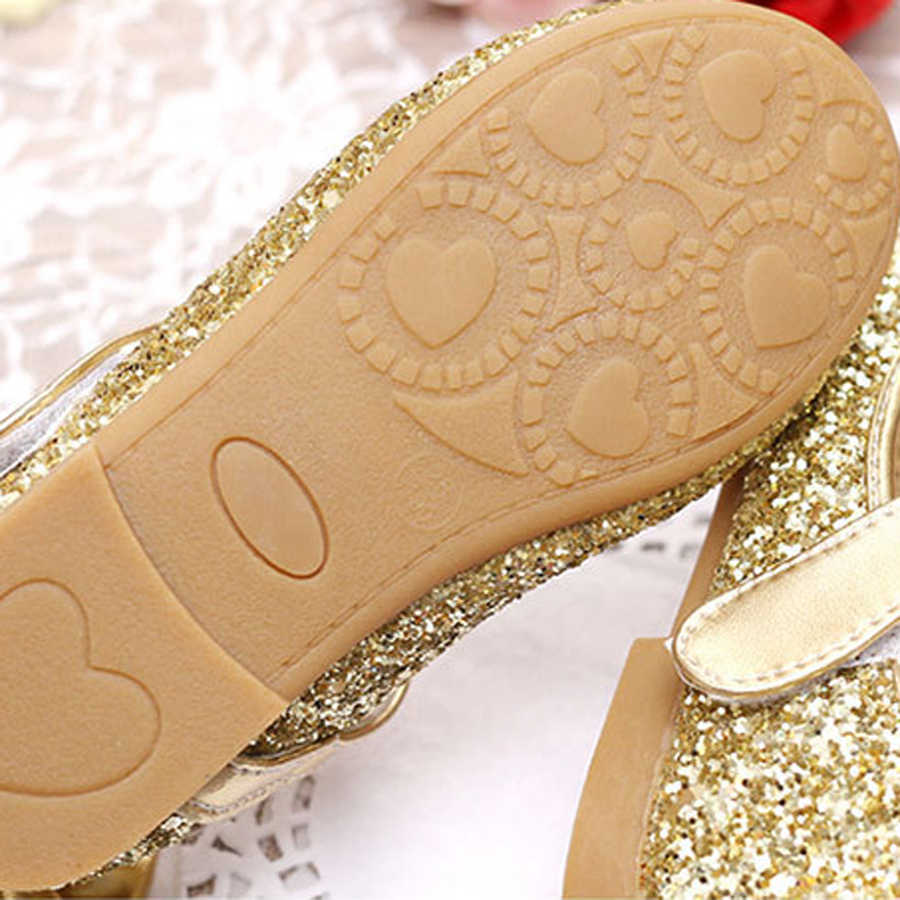 ... IYEAL Kids Shoes Pu Leather Sequins Glisten Gold Baby Girls Shoes With  Bow Silver Flower Princess 0b1cc8b582a4