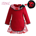 Pettigirl Girl Autumn Dress Wtih Flower Collar Causal Red Christmas Dress With Hairband Bontique Clothing G-DMGD908-1000