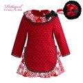 Pettigirl menina outono vestido wtih flor collar causal vestido vermelho do natal com hairband bontique roupa g-dmgd908-1000
