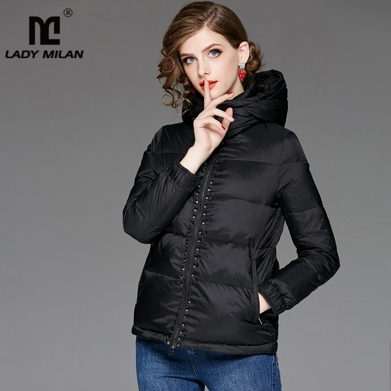 New Arrival Women's Hooded Collar Long Sleeves Rivets Detailing High Street Fashion White Duck   Down     Coats
