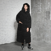 LYNETTE'S CHINOISERIE Winter Original Design Women Loose Warm Corduroy Thick 90% White Duck Down Jackets Coats Outerwear