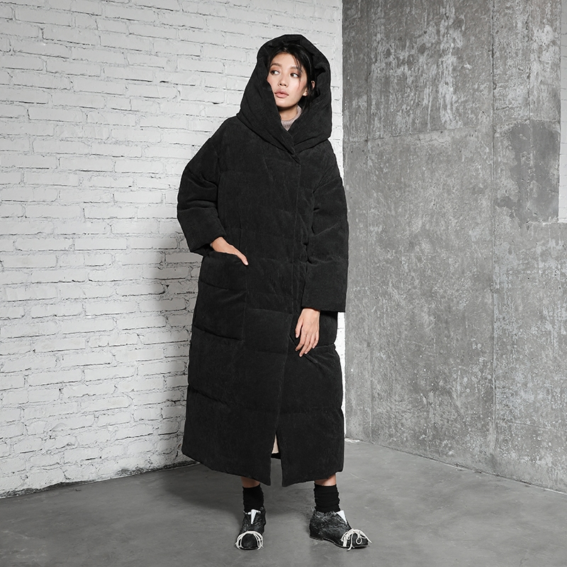 LYNETTES CHINOISERIE Winter Original Design Women Loose Warm Corduroy Thick 90% White Duck Down Jackets Coats Outerwear