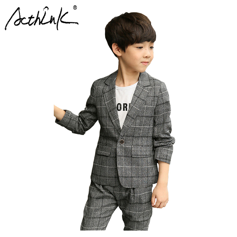 ActhInK New Arrival 2Pcs Boys Blazer Suit Grey Formal Teen Ceremony Costume Spring Clothing Set
