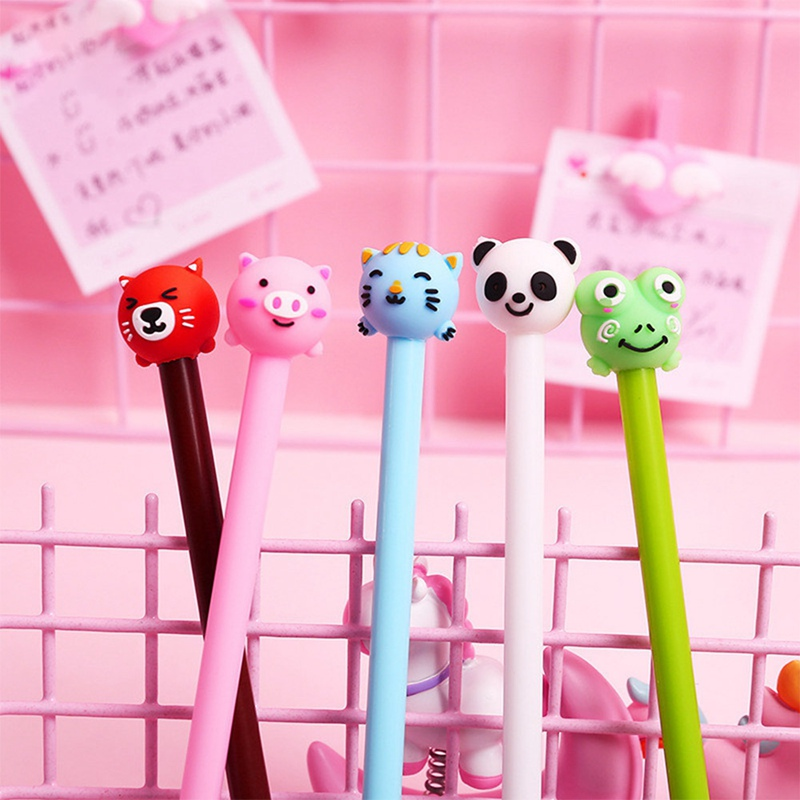 1 Pcs Cartoon Leuke Varken Kat Beer Panda Kikker Gel Pen 0.5mm Zwarte Inkt Gel Pen Student Geschenken Awards Schrijven Levert Druppel Droog