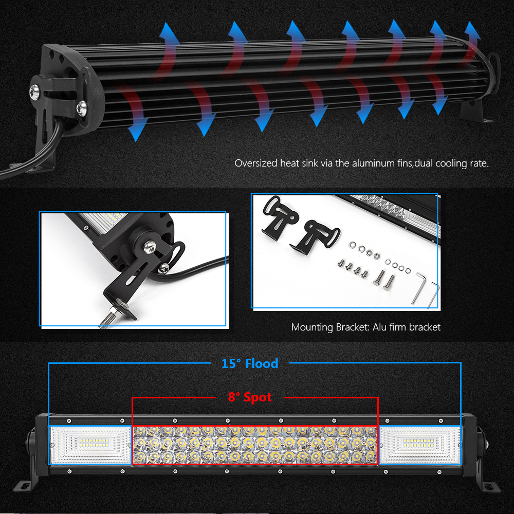 WEISIJI 1Pcs 270W 22inch Tri row LED Light Bar Combo Beam 4*4 ...