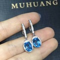 natural blue topaz stone drop earrings 925 silver Natural gemstone earring women Classic elegant round drop Earrings for party