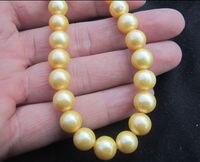 Мода девушка ювелирный магазин> Настоящее Очаровательная Южное море 10 11 мм желтый природных жемчужное ожерелье 18