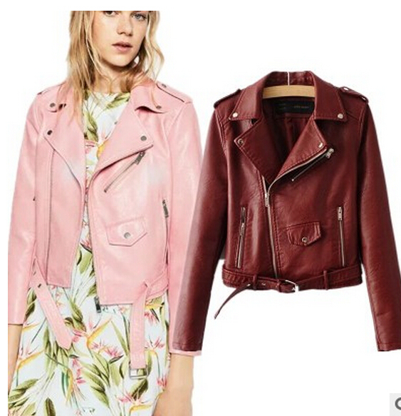 a7d431b9d6c Новая модная короткая куртка Slim Для женщин модная кожаная куртка Женские  мотоциклетные PU синий розовый черный