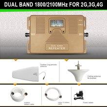 Smart 2 г 3 г 4 г мобильный усилитель сигнала комплекты dual band 1800/2100 мгц, 70дб усиления, мощность 23dBm, охват 300-800M2 ретрансляторов сигнала