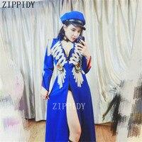Золото Сияющий кисточкой Кристаллы значки Для женщин синие длинные дворец куртка костюм производительность ночной клуб Dj певица этап верх