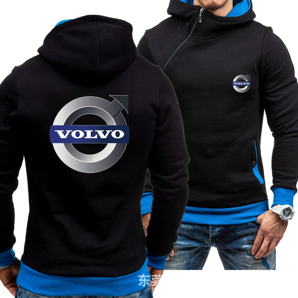 Autumn Winter For Men Oblique Zipper Hoodies Fashion Volvo Sweatshirt Clothes Man Women Fleece Hoodies Jacket Winter Zipper Coat