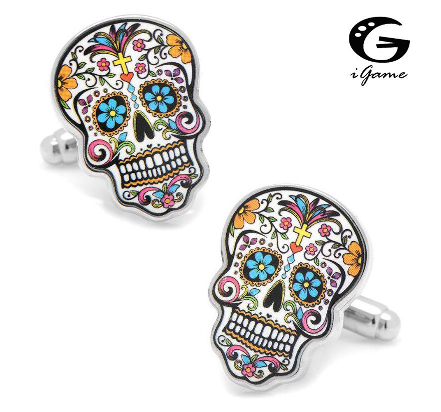 IGame Day Of The Dead Cuff Links Muti-color Brass Material Sugar Skull Design Free Shipping