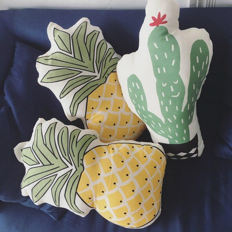 2017 New Arrival Lovely Cartoon Plants Fruit Pineapple Cactus Stuffed Dolls Plush Cushion Pillow Toys Gift
