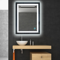 LED Lighted Wall Mount Mirror Rectangular W/Touch Button Bathroom Decor Mirror Illuminated Vanity Cosmetic Makeup Mirror FR HWC