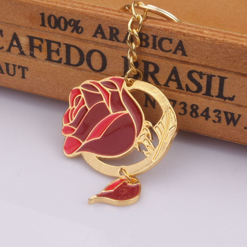 Beauty And The Beast Lover Princess Cosplay Keychain Red Rose Pendant Keychain Princess Cosplay Accessory Halloween Cosplay