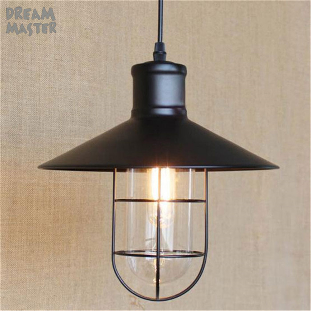 Vintage Iron Pendant Light  Industrial Lighting Glass Guard Design Cage Pendant Lamp Hanging Lights E27 Bar Cafe Restaurant new loft vintage iron pendant light industrial lighting glass guard design bar cafe restaurant cage pendant lamp hanging lights