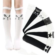 Children Girls sock Toddler baby Knee High socks Cute Cartoon lovely cat leg warmer cotton warm Socks for kids