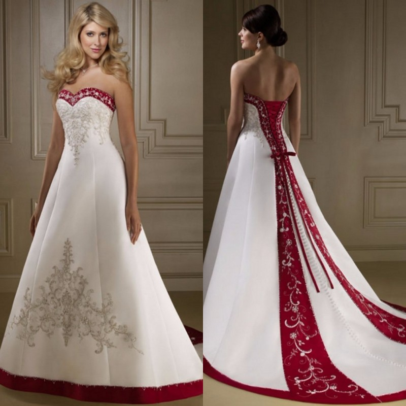 Red And White Lace Wedding Dress: White And Red Wedding Dresses Long Embroidery Satin Back