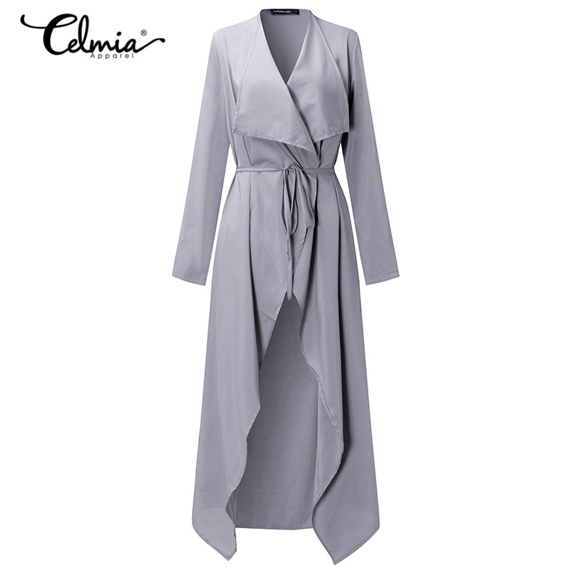 2019 Celmia Women Trench Coat Long Cardigan Office Work Autumn Belted Solid Long Coat Windbreaker Elegant Outerwear Thin Trench