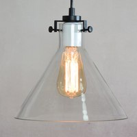 RH CLEAR GLASS FUNNEL FILAMENT PENDANT LIGHTING Modern Meridian Transparent Glass Chandelier Edison Bulb Funnel Pendant