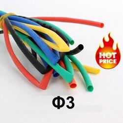 1 metros/lote 3mm Tubo termorretráctil 2:1 Tubo termorretráctil tubo retráctil Cable Sleeving Wire Wrap Kits venta al por mayor precio alto calidad