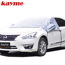 Kayme Universal Car Half Covers Sunshade Styling Foil Waterproof Thicken Car Snow Shield Anti-UV Snow Protection Covers For Cars
