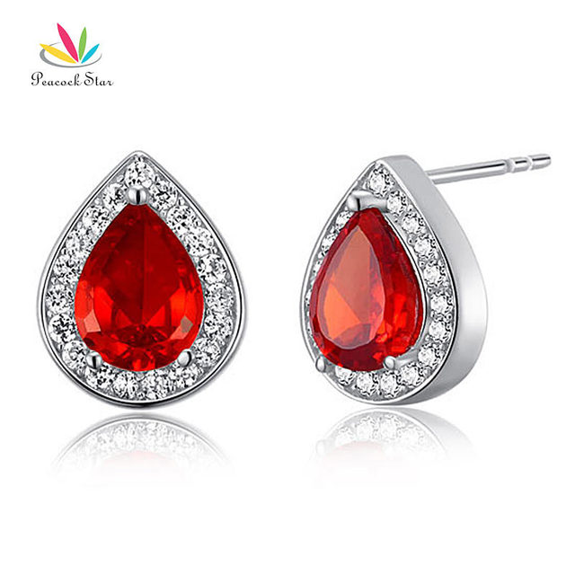 Peacock Star 1 Carat Pear Red Simulated Ruby Solid 925 Sterling Silver Stud Earrings Jewelry CFE8034