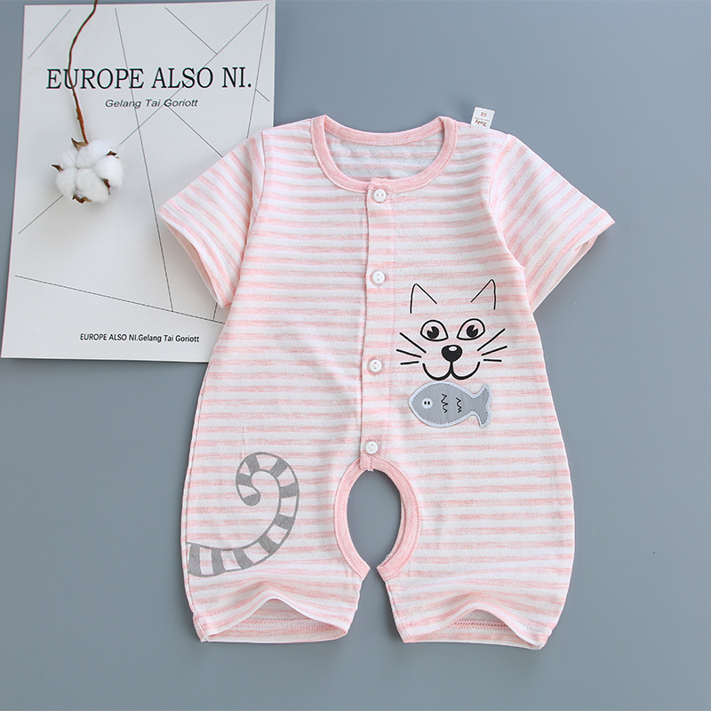 Brand 100% Cotton Summer Baby Girls Rompers Pink Cute Cartoon Short Sleeves Jumpsuits Kids Gift Infantil Romper For Newborn Baby orangemom brand summer spring baby romper long sleeves 100