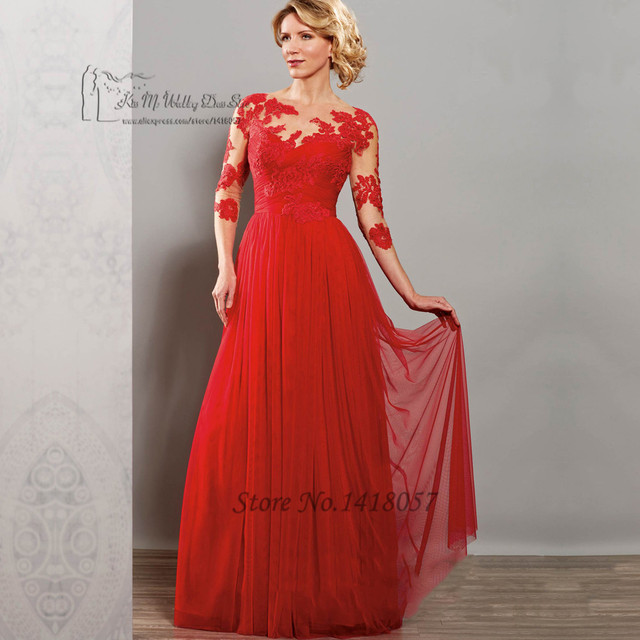 f7ec7a80fe7 Vestido de Madrinha 2016 Red Purple Long Lace Mother of the Bride Dresses  Gowns Tulle Plus Size Godmother Groom Dress
